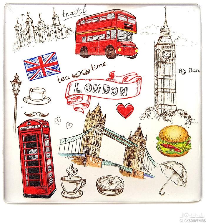 London Icons Illustrations Square Magnet
