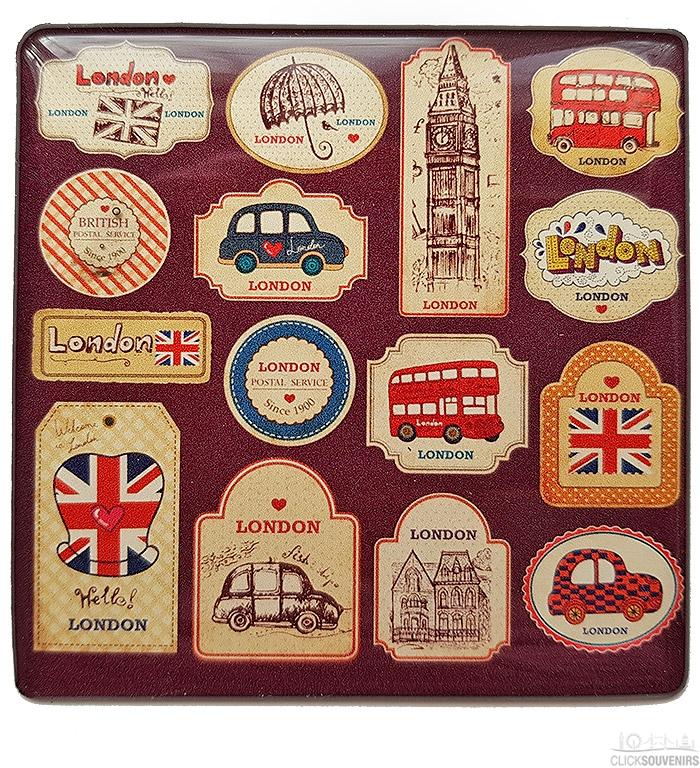London Illustrations Brown Square Magnet