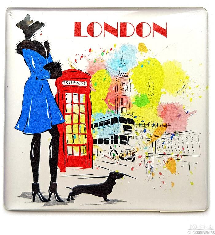 London Lady Illustrations Square Magnet