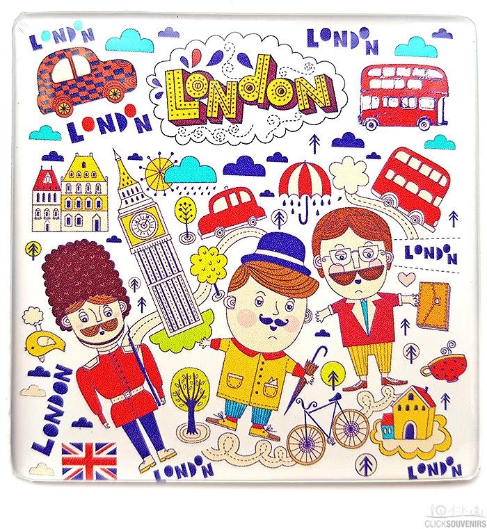 London Guard Illustrations Square Magnet